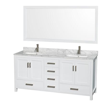 WCS141472DWHCMUNSM70 72 in. Double Bathroom Vanity in White  White Carrera Marble Countertop  Undermount Square Sinks  and 70 in.
