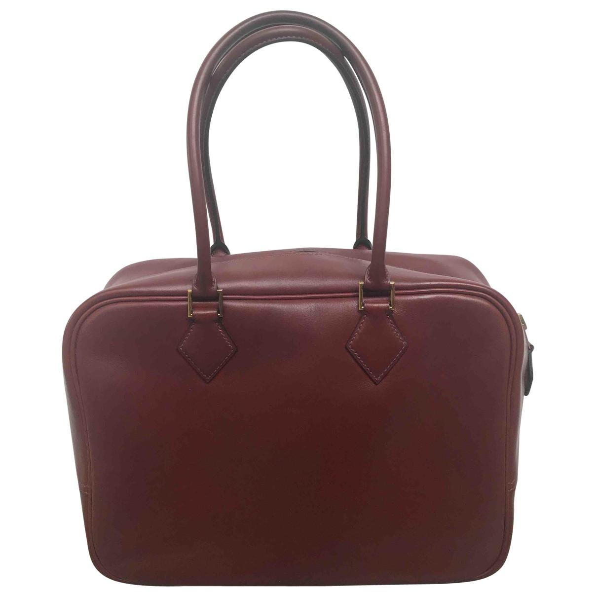 Hermes Plume Handtasche in  Bordeauxrot Leder