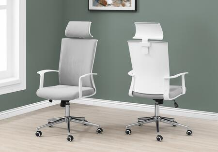 I 7301 Office Chair - White Grey Fabric High Back