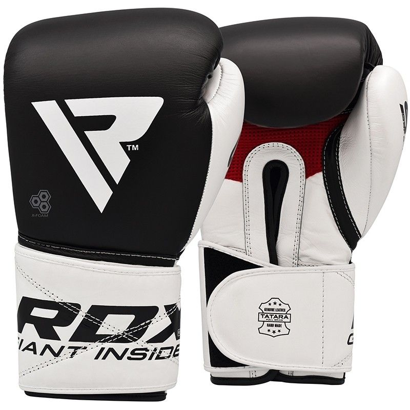 RDX S5 Leather Black and White 12oz Boxing Sparring Gloves Hook and Loop Men and Women Muay Thai Kickboxing