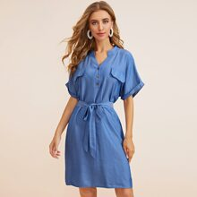 Solid Button Front Belted Shirt Dress