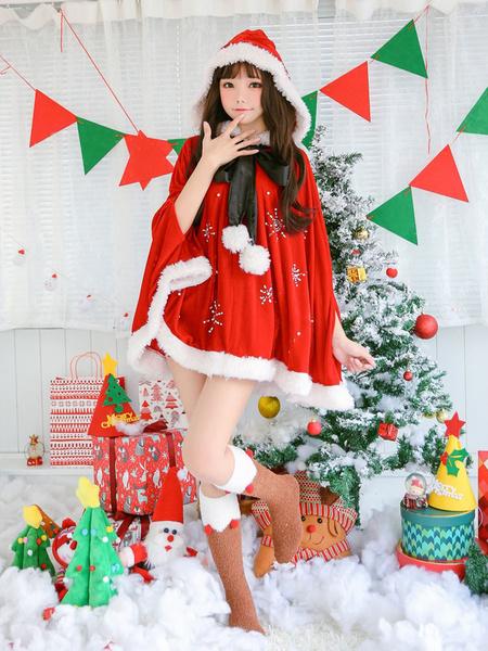Milanoo Christmas Poncho Cape Santa Claus Costume Women Hooded Cover Ups Halloween