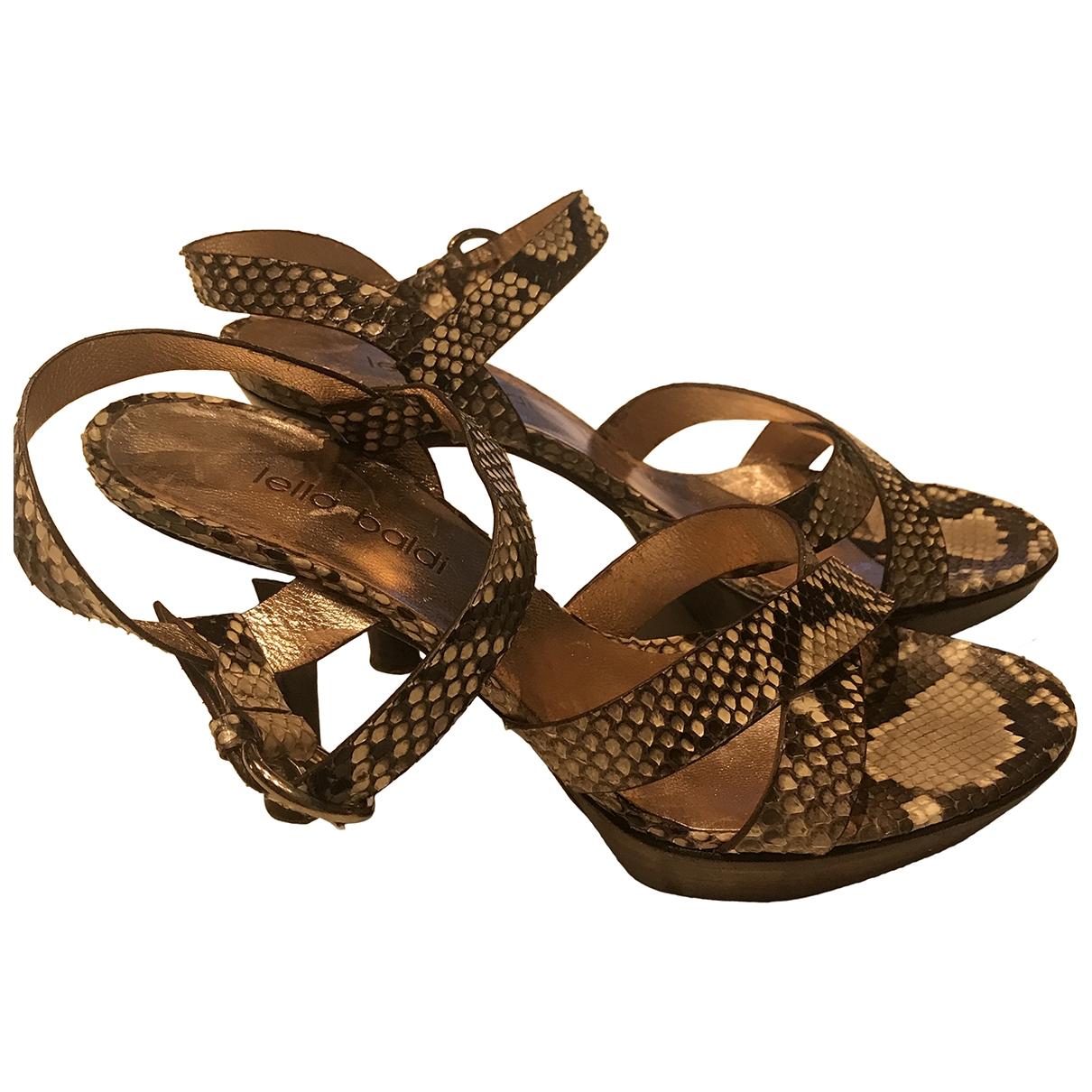 Lella Baldi \N Beige Python Sandals for Women 37.5 EU
