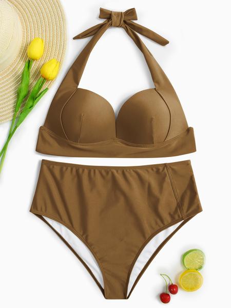 Yoins Coffee Halter V-neck Padded Design High-waist Bikini Set