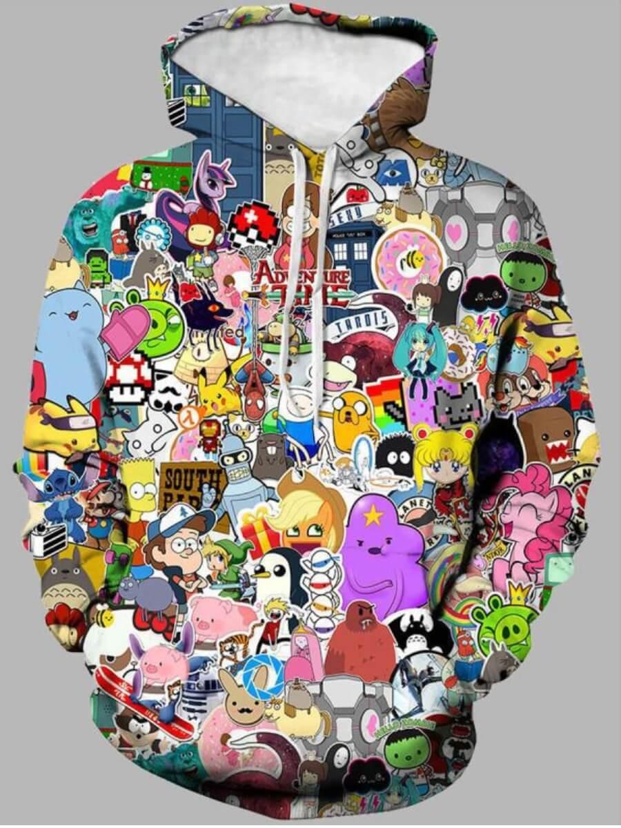 LW Lovely Trendy Hooded Collar Cartoon Print Multicolor Boy Hoodie