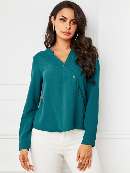 YOINS Green Button Design V-neck Blouse