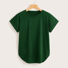 Einfarbiges T-Shirt mit rundem Ausschnitt und gebogenem Saum