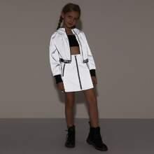Reflektierende Jacke mit Reissverschluss, Buchstaben Muster und Band am Saum