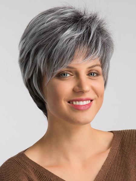Milanoo Mujeres pelucas sinteticas pelucas de pelo corto en capas grises