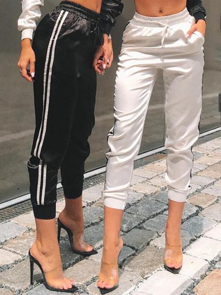 Milanoo Women Jogger Pants Striped Drawstring Elastic Waist Casual Pants