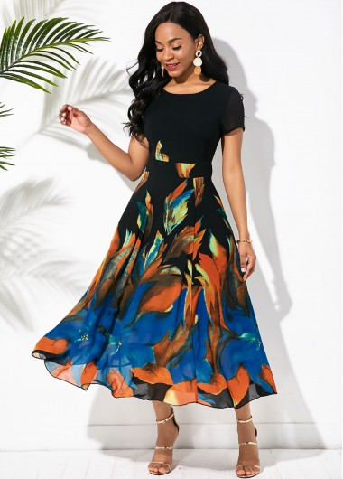 Rosewe Women Black Printed Short Sleeve Vintage Swing Dress Round Neck Maxi High Waisted Holiday Casual Dress - XL