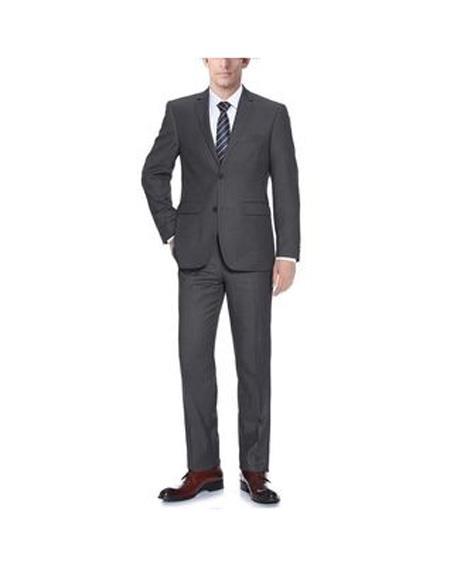 Verno Barzetti Mens Dark Grey Notch Lapel Slim Fit  Tuxedo