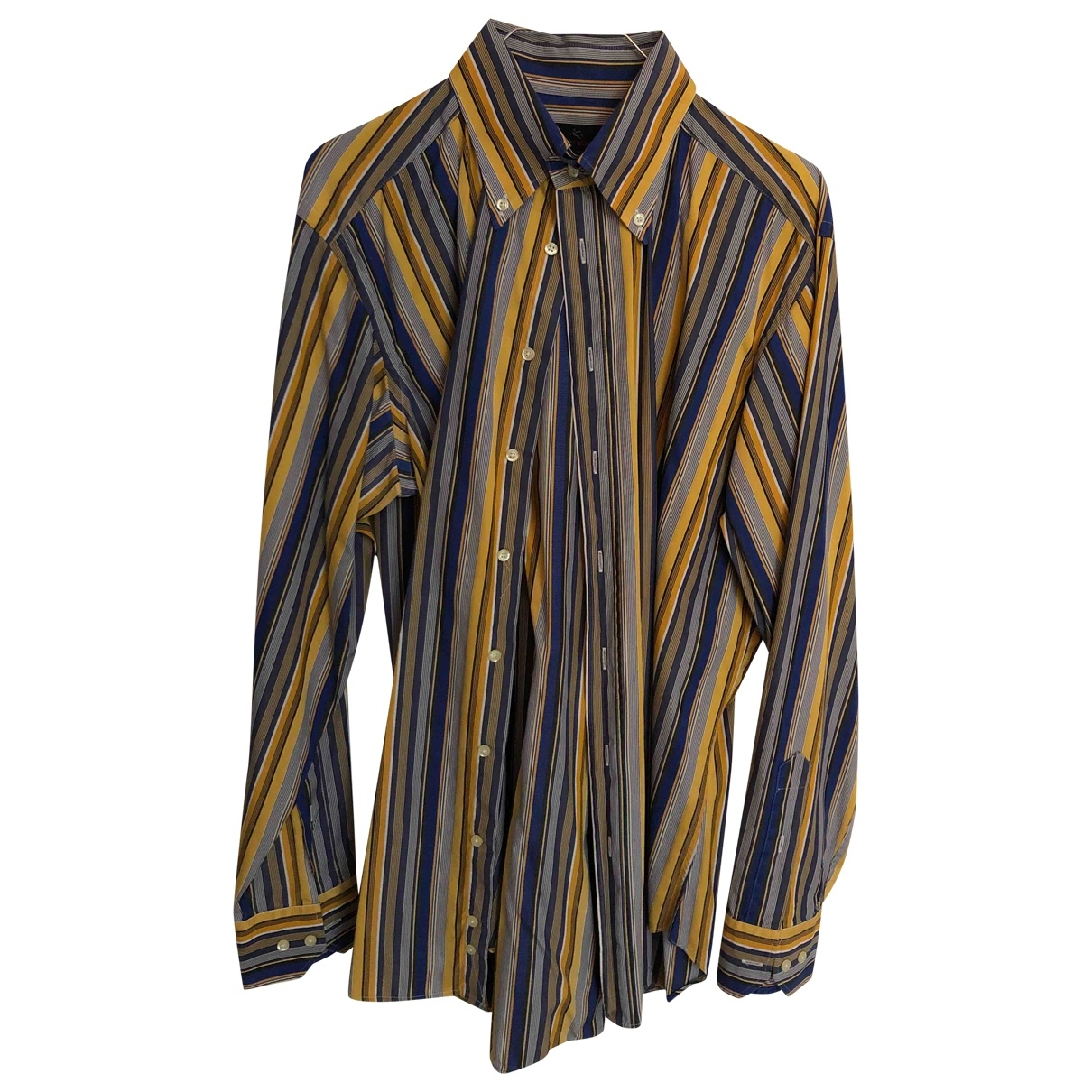 Etro \N Yellow Cotton Shirts for Men 41 EU (tour de cou / collar)