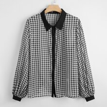 Plus Houndstooth Contrast Trim Blouse