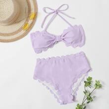 Bikini Badeanzug mit Bogenkante, Neckholder und hoher Taille