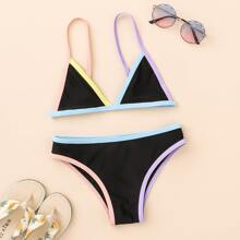 Bañador bikini ribete en contraste