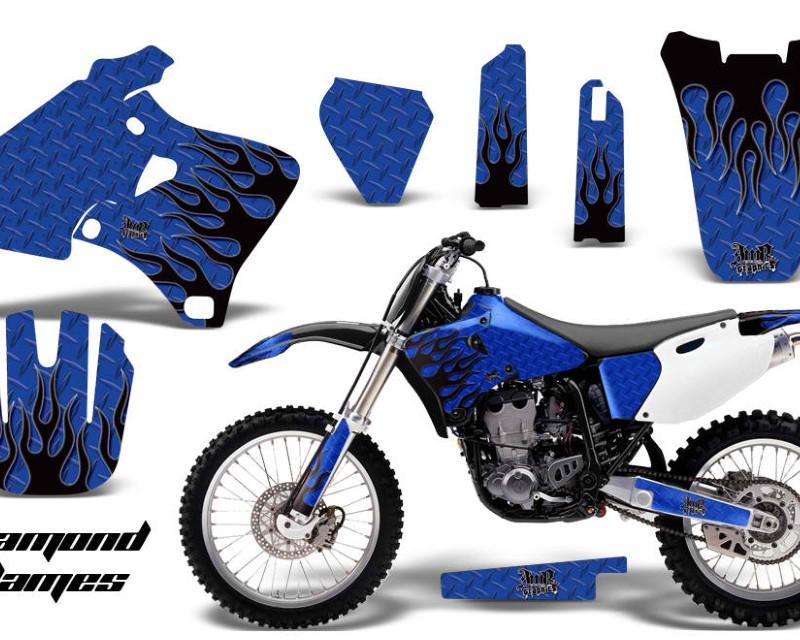 AMR Racing Dirt Bike Graphics Kit Decal Wrap For Yamaha YZ 250F/400F/426F 1998-2002áDIAMOND FLAMES BLACK BLUE