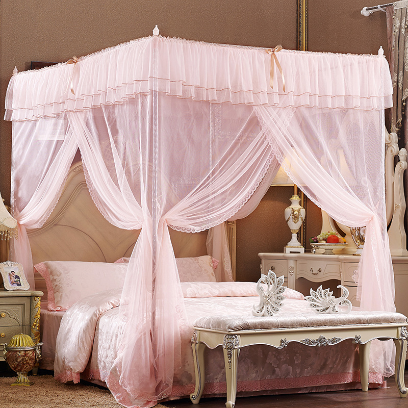 Three Openings Four Corner Post Aulic Style Polyester Mosquito Bed Nets
