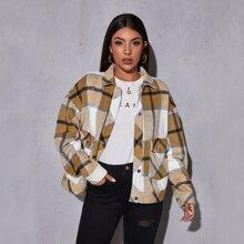 Einreihige Jacke mit Taschen Flicken und Karo Muster