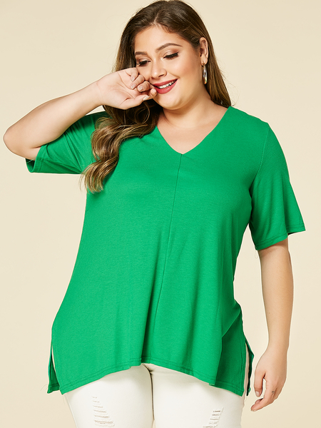 YOINS Plus Size Green V-neck Half Sleeves Slit Hem Tee