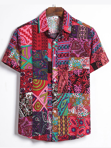 Yoins Men Summer Casual Beach Holiday Tribal Bohemian Shirt