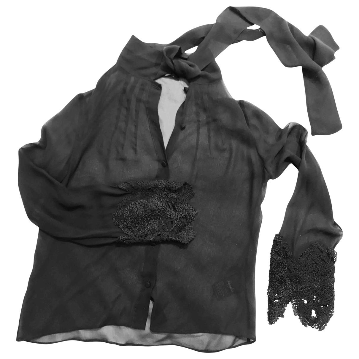 Max Mara - Top   pour femme en soie - noir