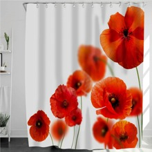 1pc Flower Print Shower Curtain With 12Hooks