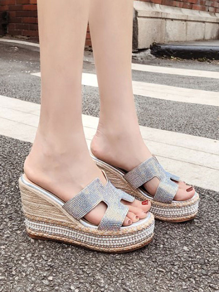Milanoo Silver Wedge Sandals Women Platform Open Toe PU Leather Slip On Sandal Slides