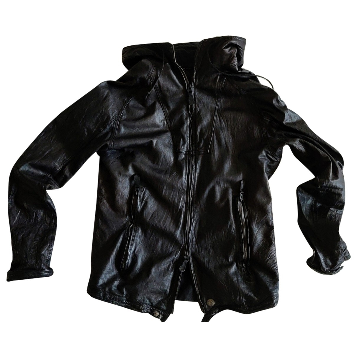 Christian Peau \N Black Leather jacket  for Men L International