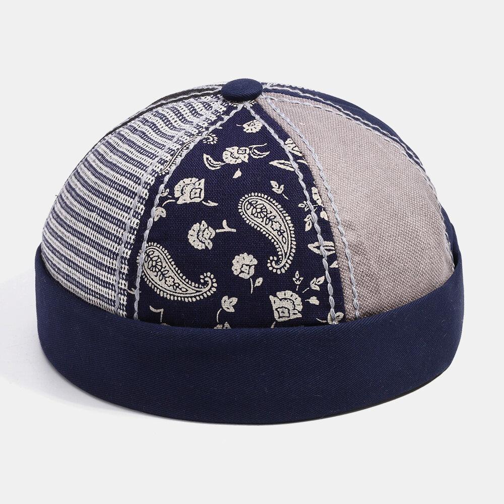 Fashion Paramecium Stripe Solid Color Stitching Landlord Hat Skull Caps