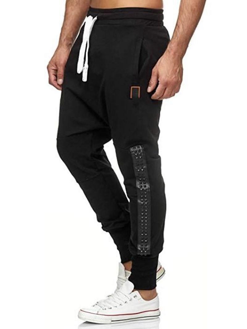 Ericdress Baggy Pants Color Block Patchwork Lace-Up Mid Waist Casual Pants