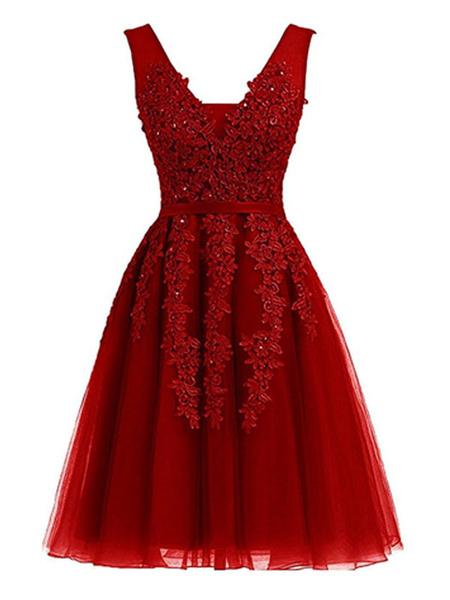 Milanoo Sin mangas de cuello vestido de coctel de corta magnifica una linea V encaje de cuentas Mini Tul Vestidos de baile