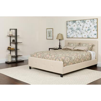 HG-BMF-17-GG Tribeca Twin Size Tufted Upholstered Platform Bed in Beige Fabric with Memory Foam