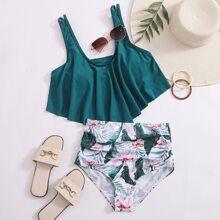 Bikini Badeanzug mit tropischem Muster und Ruesche