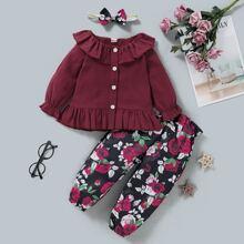 Bluse mit Rueschenbesatz & Hose mit Blumen Muster & Stirnband