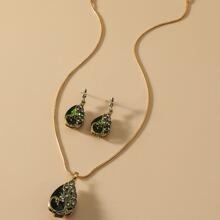 3 piezas set joya con gota de agua con diamante de imitacion