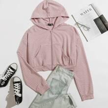 Striped Zip Up Hooded Sweatshirt