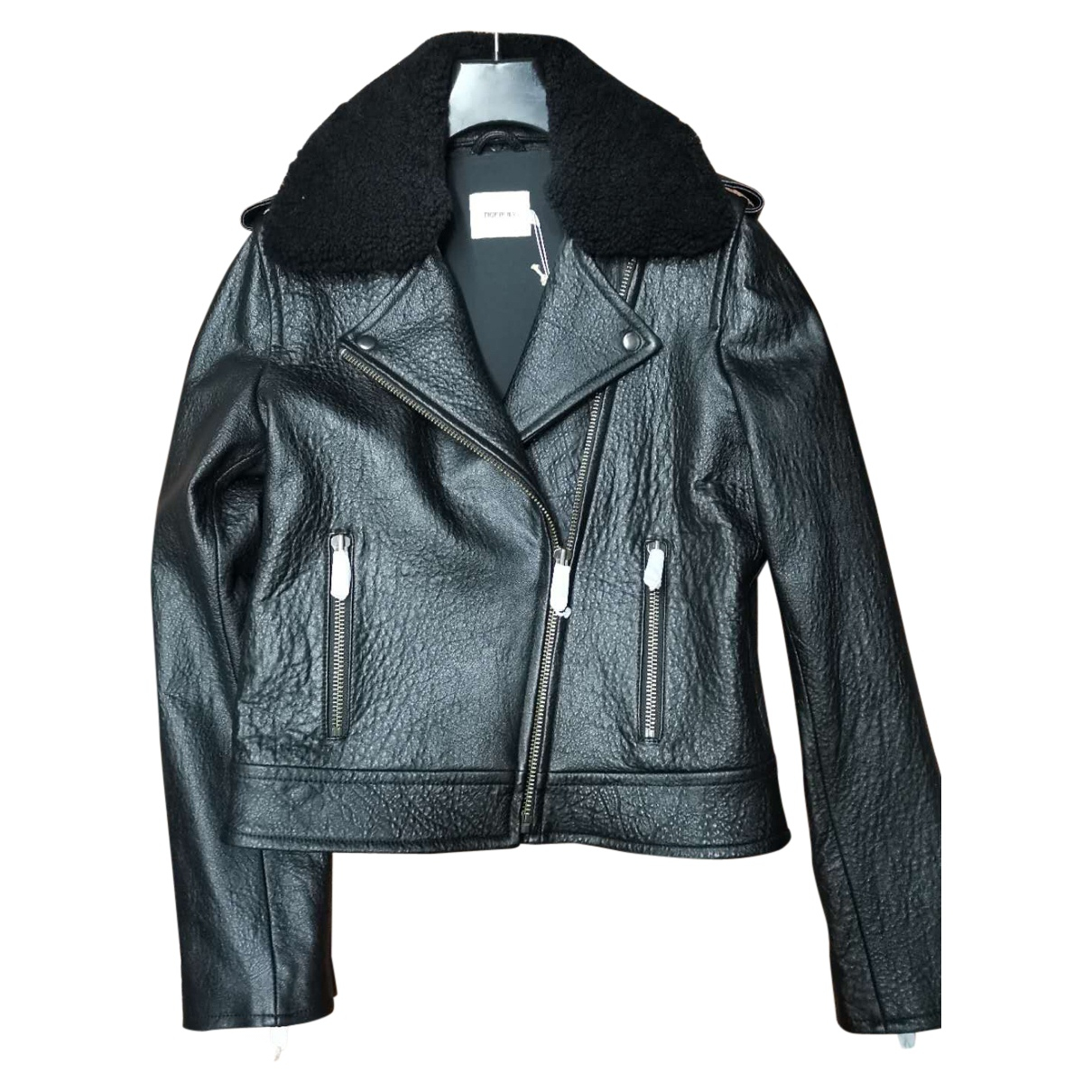 Non Signé / Unsigned N Black Leather jacket for Women 10 UK
