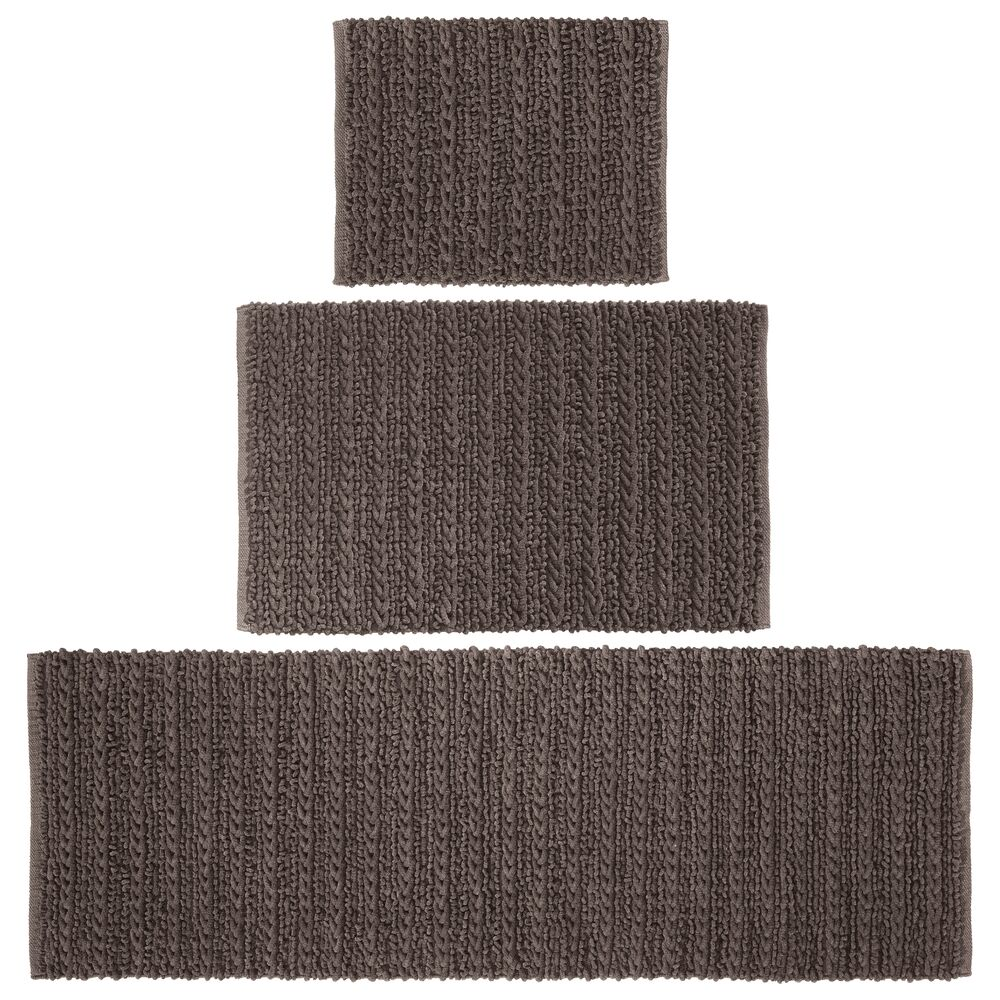 mDesign Cotton Spa Bath Mats with Braided Design - Set of in Chocolate, 17
