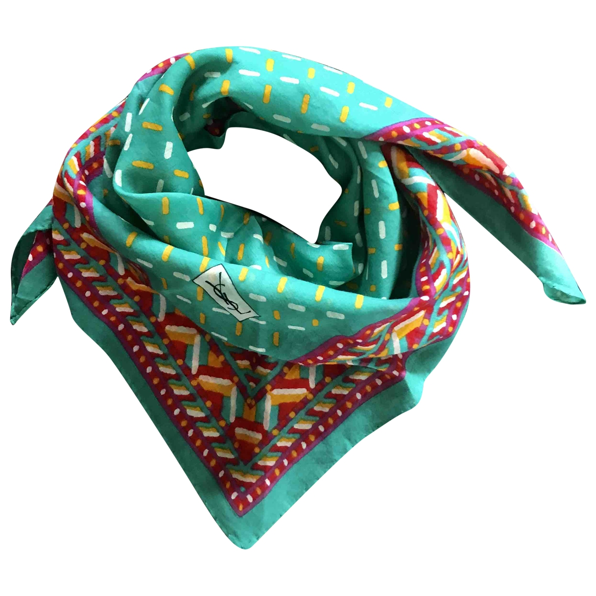 Yves Saint Laurent \N Green Cotton Silk handkerchief for Women \N