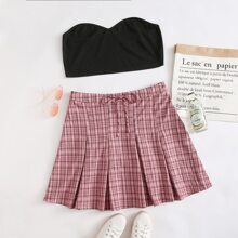 Plus Tube Top & Plaid Skirt Set