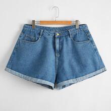 Plus Rolled Hem Button Fly Denim Shorts
