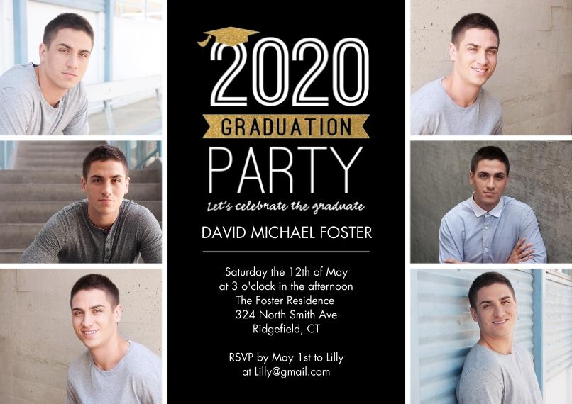 2020 Graduation Invitations 5x7 Cards, Standard Cardstock 85lb, Card & Stationery -2020 Graduation Invite Cap by Tumbalina