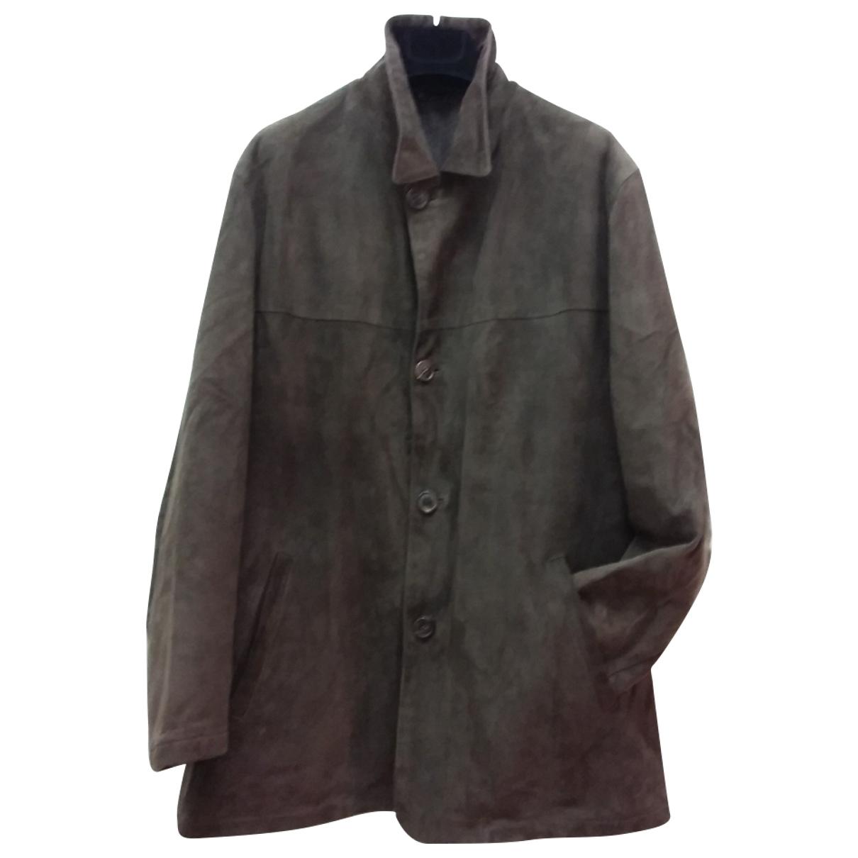 Salvatore Ferragamo \N Brown Suede coat  for Men 50 IT