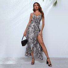 Snakeskin Print Self Belted Wrap Cami Dress