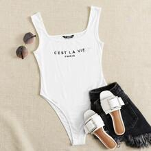 Slogan Graphic Tank Bodysuit