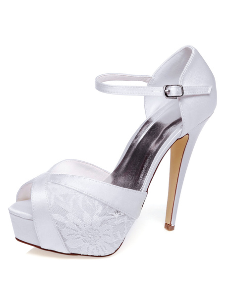 Milanoo White Bridal Sandals Platform Lace Peep Toe Wedding Sandals