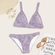 Dreieckiger Bikini Badeanzug mit Dalmatiner Muster