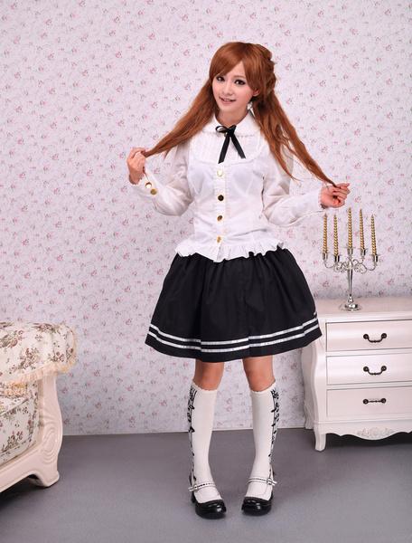Milanoo Sweet White Cotton Lolita Blouse Long Sleeves Lace Trim Bow
