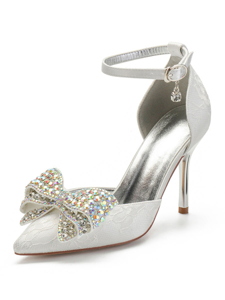 Milanoo Wedding Shoes Satin White Pointed Toe Pearls Stiletto Heel Ankle Strap Bow Wedding Shoes